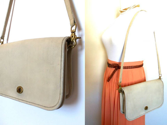 SALE Vintage Coach Convertible Clutch Bag, Hipster Leather Messenger Cream Retro Camera Bag Crossbody Purse Bonnie Cashin