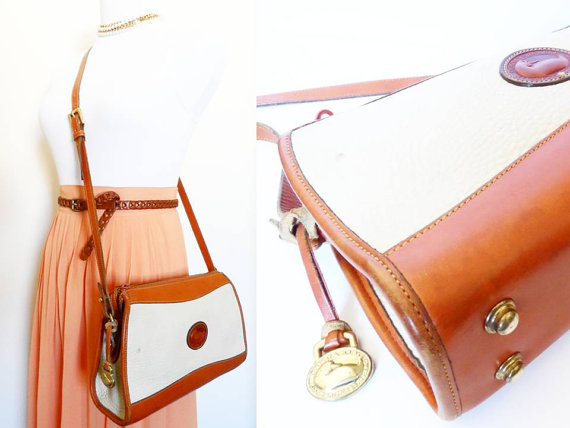 Vintage Dooney & Bourke Camera Bag, Hippie Brown Trim and Tan All Weather Leather Preppy Hipster Retro Crossbody Satchel Colorblock Two Tone